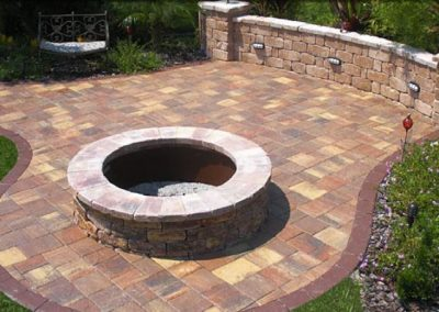 outdoor firepit with outdoor pavers