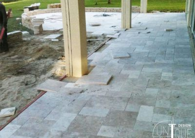 Paver patio with wall