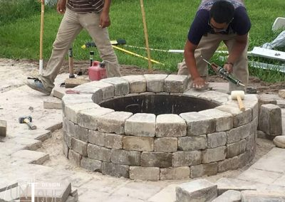 outdoor firepit and paver patio