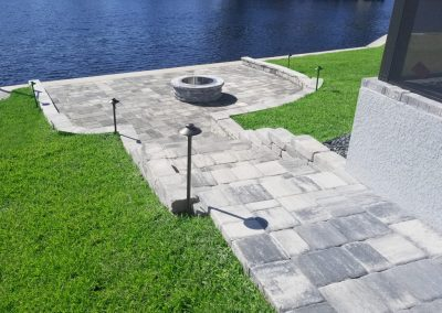 Paver Walkway and Outdoor Paver Fire Pit Patio