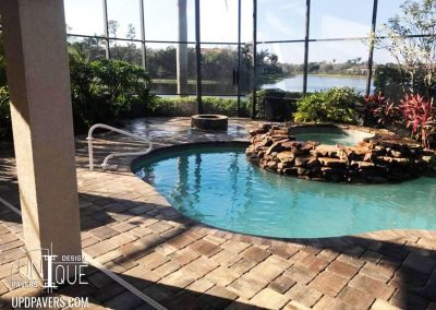 Naples Outdoor Firepit on paver pool deck